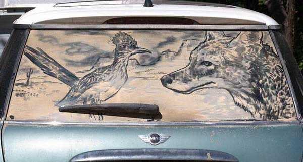 Рисунки на стеклах авто