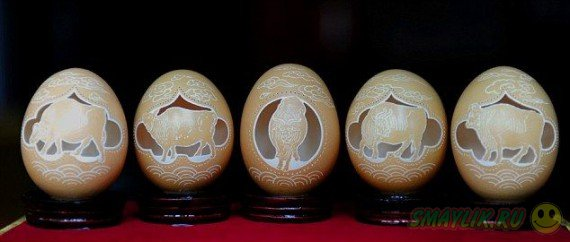 Скульптуры из яичной скорлупы созданные руками китайского умельца