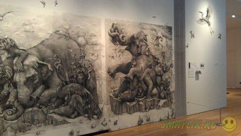 Триптих «Слоны» созданный художницей  Адонной Карэ