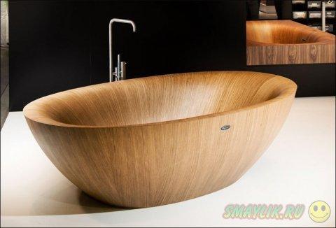 Элегантные ванны и раковины из дерева