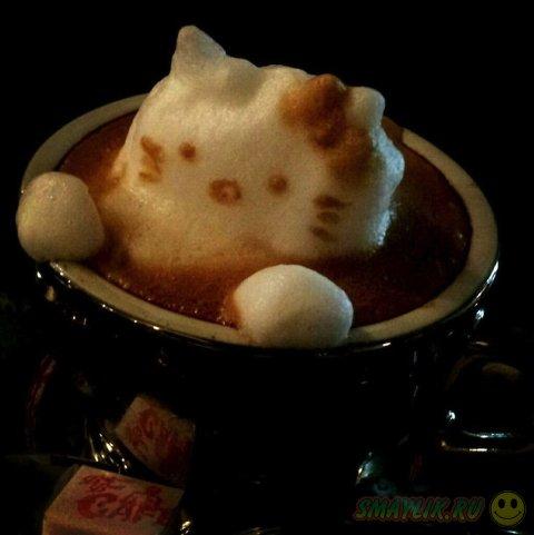 Искусство 3D рисунков на кофе