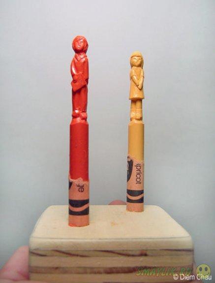 Удивительные фигурки людей и животных из восковых карандашей
