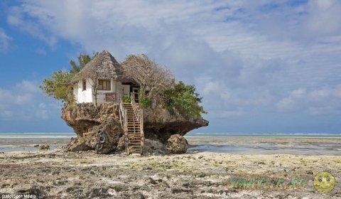 Необычный ресторан морепродуктов на прибрежной скале