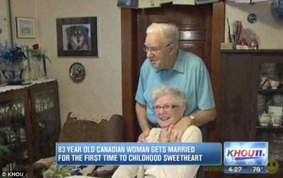 Жители Канады  поженились спустя 75 лет после их первого поцелуя