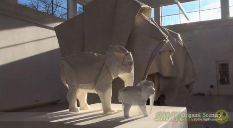 Белый слон из листа бумаги