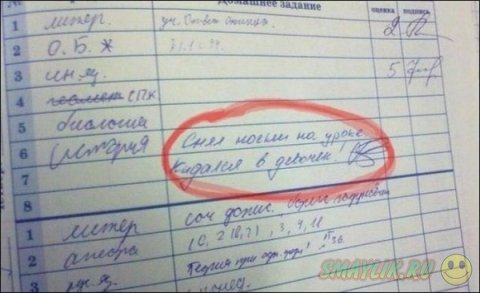 Смешные записи учителей в дневниках школьников