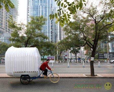 Новая концепция компактного жилья - дом на трехколесном велосипеде