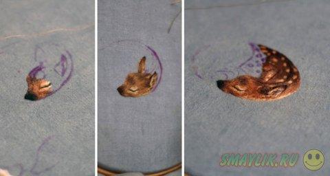 Миниатюрные изображения животных в вышивках Хлои Джордано