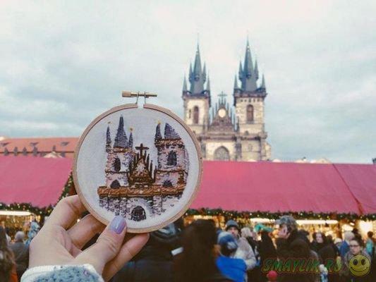 Вышитые сувениры Терезы Лим на память о путешествии
